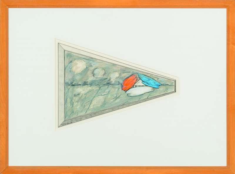 Detail kleurenproef met rood, wit, blauw accent, 1984