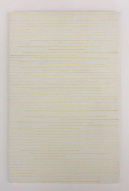 Horizontal Yellow lines (not touching the edges) and pencil lines (from edge to edge), 1974