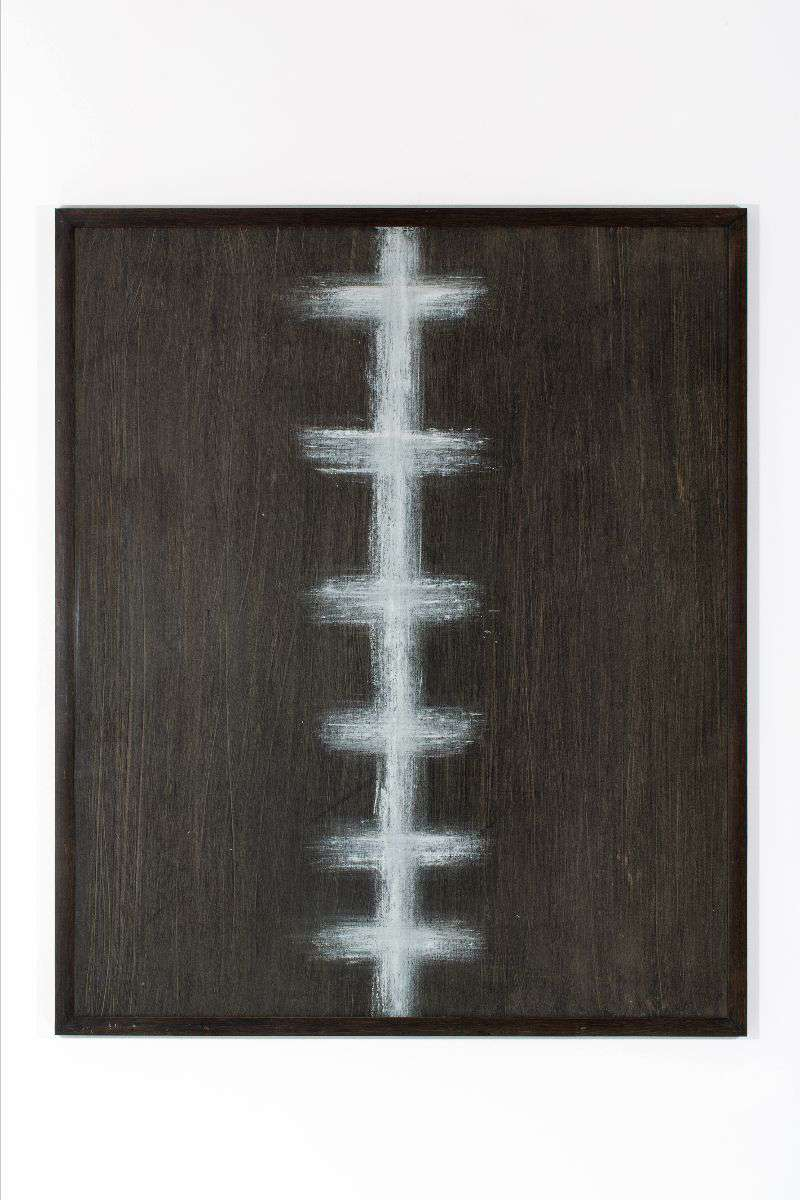 untitled, 1989, oilpaint and oilstick on paper / board, wooden frame with flat glass, 121 x 101 cm