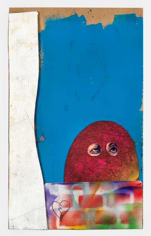 Morgan Betz, Brick wall curtain sky and dummy guy, 2018